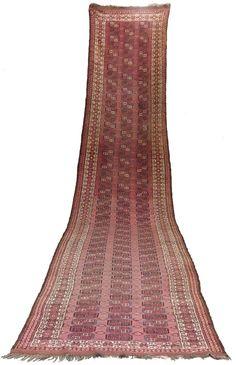 21,6 x 4 ft antique very rare Oriental Turkmen Tribal runner carpet rug 19th c.