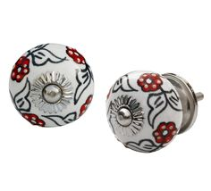 "Rosy Knobs - #Handmade 1.4"" #Ceramic #Door #Knobs / Drawer #Pulls / Handles in Red Flowers on White (Set of 2)"