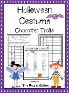 FREE! This Halloween character trait activity involves students using Halloween costumes as clues to character traits.   Students must also give details to support their opinions on the chart provided. Both color and black/white charts are included. A list of character traits is also provided as a student reference sheet.  Download at:  https://www.teacherspayteachers.com/Product/Halloween-Costumes-Character-Traits-354560