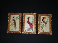 This is a vintage set of hand painted, Mexican feather art with hand carved frames. The frames are 8 3/4 tall and 5 1/2 wide. One frame does
