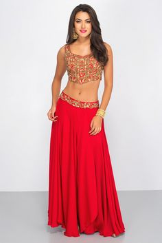Rent MISE A' JOUR BY SHILPA - Red Embroidered Lehenga Set Belly Dance Outfit, Belly Dance Costumes, Dance Outfits, Dance Dresses, Indian Dresses, Indian Outfits, Dance Fashion, Girl Fashion, Carnaval Costume