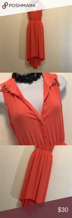 👗Audrey Coral Hi-Low Cut Out Back Maxi Dress👗 Excellent Condition, Sleeveless, Button Down Gold Top, Studs Collar, Sexy Cut Out Back, Elastic Waist, Hi-Low Hem, Flowy Sheer Lined. Audrey  Dresses Maxi
