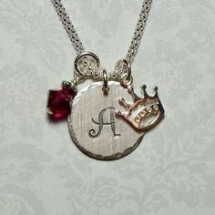Crown Hand Stamped Sterling Silver Initial Charm Necklace by #DolphinMoonCreations #crownnecklace