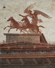 Etruscan winged victory fresco Victoria on her two-horse chariot HerculaneuM
