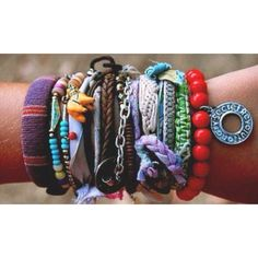 Love these bohemian bracelets....so fun to mix and match colors and textures and styles, the more the better