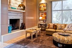 RoomReveal - Classic contemporary living room with fireplace by Elena Mejia-Kerwin