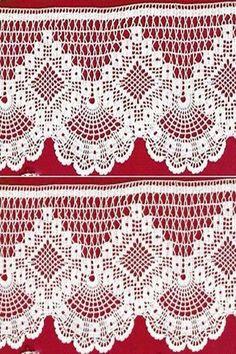Crochet Edgings Design Crochet lace edging with point Crochet Bedspread Pattern, Crochet Edging Patterns, Filet Crochet Charts, Crochet Lace Edging, Crochet Curtains, Crochet Motifs, Crochet Borders, Thread Crochet, Irish Crochet