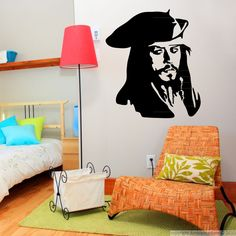 Extravagant Jack Sparrow - the iconic role of Johnny Depp as a @sticker for your home. #decals #wall