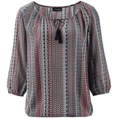 ab 29.3.: Damen Bluse im Mustermix schwarz-bunt (weiß, blau, pink); 3/4-Arm, paspelierter Ausschnitt mit schwarzer Kordel/Tassel, elastische Bündchen; 100 % Viskose; Gr. 36 - 46; 12,99 Euro