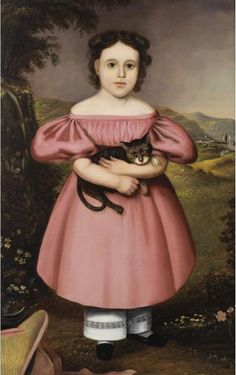 Joseph Goodhue Chandler, Porträt eines jungen Mädchens mit Katze, ca. 1840