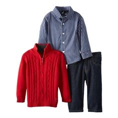 Nautica Baby Boys Red Cable Knit Sweater 3 Piece Set