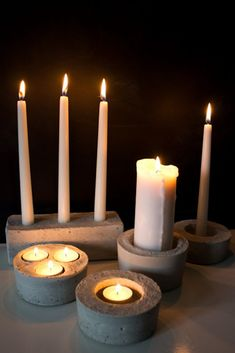 DIY Concrete Candle Holder Examples