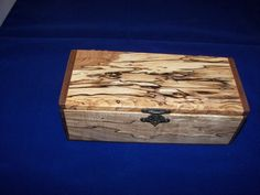 Spalted Maple Jewelry/ Keepsake Box with Black Walnut ends Woodworking Box, Woodworking Projects Diy, Wood Projects, Custom Wooden Boxes, Reclaimed Wood Art, Spalted Maple, Brass Hinges, How To Make Box, Box Art