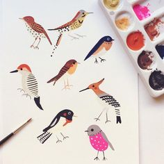 Birds - Everything About Painting Art And Illustration, Vogel Illustration, Watercolor Illustration, Watercolor Paintings, Bird Paintings, Watercolors, Gouache Painting, Painting & Drawing, Painting Studio