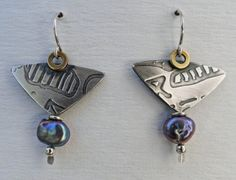 Sterling Silver Brass and Raven Biwa Pearl by gailheftimetalsmith $62.
