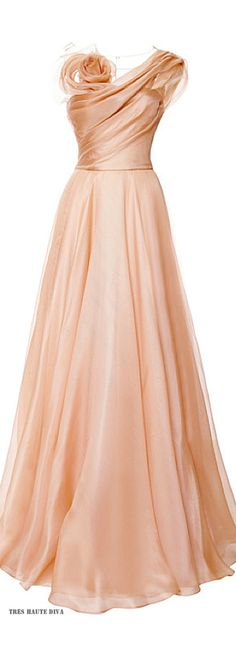 Marchesa Nude Silk Gazaar Draped Bodice Gown ♔ Resort 2015