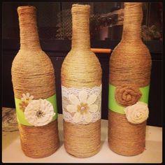 Bottles wrapped in twine- Jordan's centerpieces!