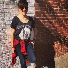 Details Doll Megan is looking effortlessly rocker chic in a Fleetwood Mac tee, Rails plaid shirt and Mother dark skinny jeans! #rockerchic #classicvibes #ootd #fleetwoodmac #detailsdolls #boutiquelife #shoplocal #detailsboutique