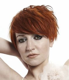 short red straight choppy messy coloured Layered Womens haircut hairstyles for women