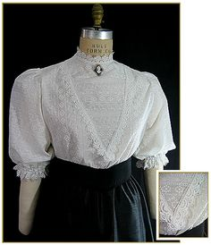 White cotton embroidered blouse with scalloped white trim and collar. Matching skirt available. Victorian Blouse, Victorian Fashion, Gothic Fashion, Vintage Fashion, Edwardian Clothing, Historical Clothing, Vintage Outfits, Period Outfit, Vintage Mode