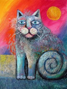 Scruffy cat by Karin Zeller Canadian Cat, Lots Of Cats, Art Society, Thing 1, Pretty Cats, Pretty Kitty, Cat Colors, Kittens Cutest, Cat Art