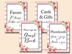 pink stripes, floral baby shower, bridal shower signage, favors sign, photobooth sign, cards and gifts sign, black sparkle,…