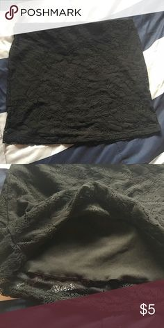 Lace Mini Skirt Elastic waistband. Tag says size medium juniors, but fits more like a small juniors. Form-fitting, hugs your curves. Like new condition. Has a black slip attached. Machine washable. No Boundaries Skirts Mini