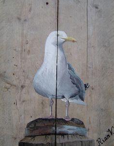 Rian Verbeek -de Lincel - Meeuw op dukdalf Diy Painting, Painting On Wood, Painting & Drawing, Barn Wood Crafts, Coastal Art, Pallet Art, Driftwood Art, Beach Art, Animal Paintings