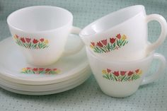 Fire King Premium Tulips Cup & Saucer Set - Retro Reclaimations - 1