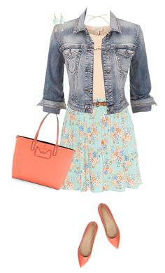 """""""Floral Skirt & Denim Jacket"""" by daiscat ❤ liked on Polyvore featuring Witchery, Marc by Marc Jacobs, LC Lauren Conrad, maurices and J.Crew"""