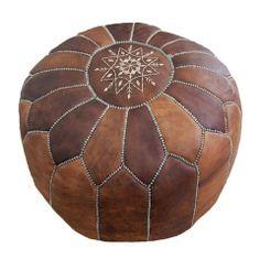 Handmade Moroccan Leather Pouffe (Dark Tan)