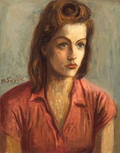 Artwork by Moses Soyer, A Portrait of a Woman in a Red Blouse, Made of oil on canvas 20 x 16in Signed