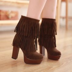 $40.99 Womens Frosting Chunky High Heel Platforms Pull On Ankle Boots