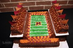 A football stadium grooms cake, I also make these every year for Super Bowl Parties