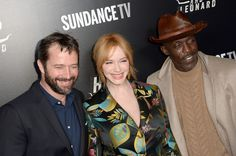 """James Purefoy, Christina Hendricks and Michael K. Williams attend """"Hap and Leonard"""" private premiere party at Hill Country BBQ on February 25, 2016 in New York City."""