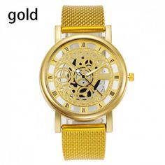 Hollow Out Quartz Watch Stainless Steel Mesh, Islamkot Stainless Steel Mesh, Mechanical Watch, Quartz Watch, Gold Watch, Watches For Men, Mens Fashion, Luxury, Stuff To Buy, Moda Masculina