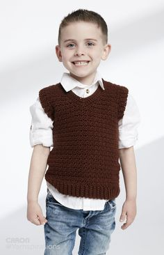 Child's Crochet V-Neck Vest - Patterns | Yarnspirations