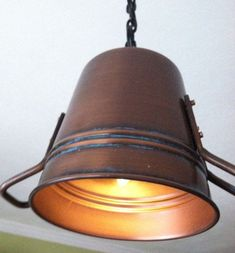 Rustic Copper Pail Pendant Light by on Etsy Rustic Pendant Lighting, Industrial Wall Lights, Copper Lighting, Unique Lighting, Lighting Design, Unique Ceiling Fans, Copper Lamps, Globe Pendant Light, Table Lamp Wood