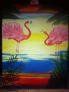 Flamingos of the Bahamas painted for dear friend Melvia