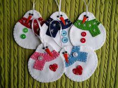 Happy snowmans tree ornaments felt snowman felt by feltgofen
