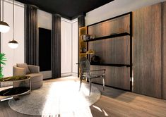 Smartbed V Desk + shelf to łóżko chowane w szafie z biurkiem dodatkowo zaopatrzone w półkę. Desk Shelves, Divider, Room, Furniture, Home Decor, Bedroom, Decoration Home, Room Decor, Rooms