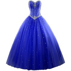 Women's Sweetheart Ball Gown Organza Quinceanera Dresses With Beads... ($15) ❤ liked on Polyvore featuring dresses, blue sweetheart neckline dress, sweetheart neck dress, sweetheart dress, blue dress and beading dress