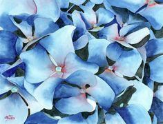 Marathon Hydrangeas Painting by Ken Powers - Marathon Hydrangeas Fine Art Prints and Posters for Sale
