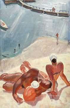 On the Beach, c. by Boris Talberg Soviet Art, Beach Pool, Tag Art, Russia, Illustration Art, Sculpture, Art Prints, 1970s, Figurative