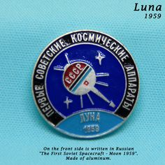 Soviet Space Russian Pin Badge Ussr Interkosmos Moon First Spacecraft