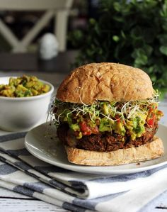 Mushroom & Lentil Burger Recipe with Roasted Red Pepper Guacamole & Sprouts