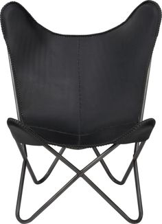 1938 black leather butterfly chair    CB2