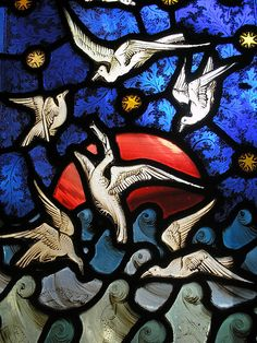 Sunset in Stained Glass detail, stained glass window; Cloister, Gloucester Cathedral.