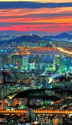 The lights in Seoul, South Korea at night