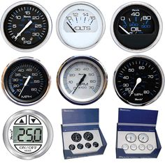 Chesapeake Stainless Steel Boat Insturment Gauges, Black or White